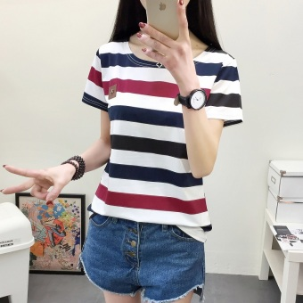 Loose Korean-style female student Short sleeve base shirt Women's Top (579 (blue Hong striped)) (579 (blue Hong striped))
