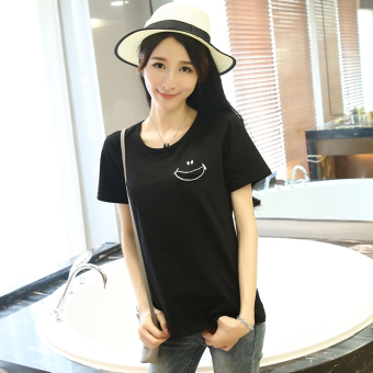 Loose Korean-style female student Short sleeve Top solid color short sleeved t-shirt (Black) (Black)