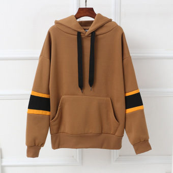 Loose Korean-style fleece female long-sleeved solid color hooded hoodie (Khaki)
