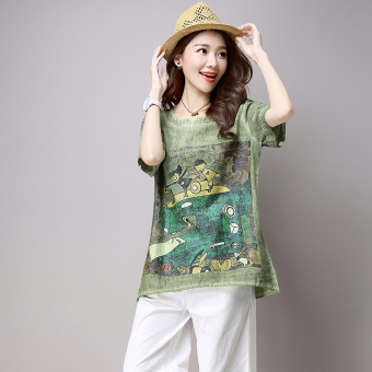 Loose Korean-style Linen summer Plus-sized T-shirt (Green)