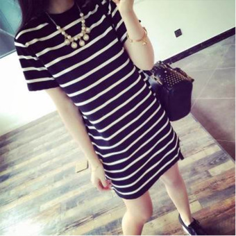 Loose Korean-style long section Women's striped summer (White)