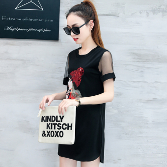 Loose Korean-style mesh female long section T-shirt shirt T-shirt (Black)