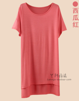 Loose Korean-style modal mid-length short sleeved t-shirt (Watermelon red)