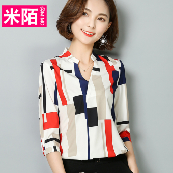 Loose Korean-style New style long-sleeved plaid short sleeved striped shirt chiffon shirt (Red box) (Red box)