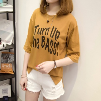 Loose Korean-style New style seven points sleeve T-shirt (Casual color)