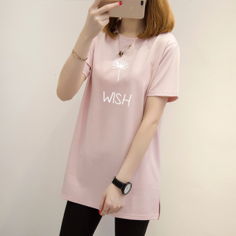 Loose Korean-style on the long section T-shirt (Lotus pink-white letters)