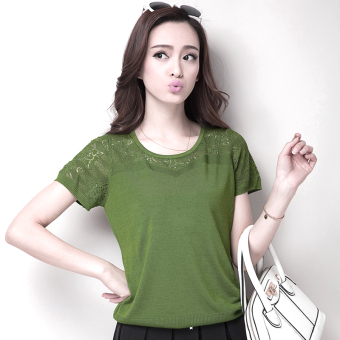 Loose Korean-style round neck hedging hollow bat (Beans green)