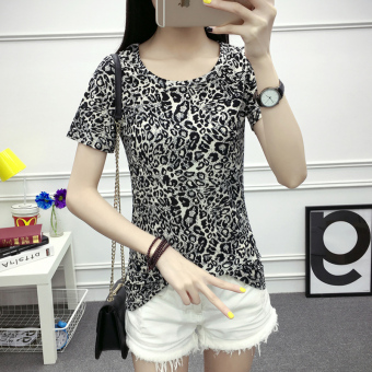 Loose Korean-style short-sleeved female Slim fit women's Top (Gray)