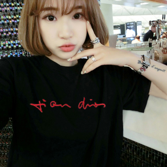 Loose Korean-style short sleeved female student T-shirt (5159 black) (5159 black)