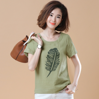 Loose Korean-style short-sleeved Print round neck cotton T-shirt (Feather paragraph beans green color)