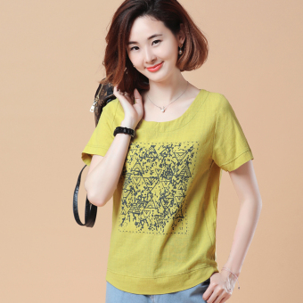 Loose Korean-style short-sleeved Print round neck cotton T-shirt (New two-dimensional code of ginger yellow)