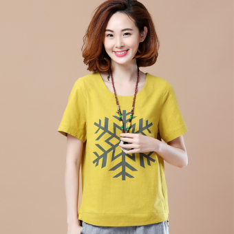 Loose Korean-style short-sleeved Print round neck cotton T-shirt (Snow paragraph ginger yellow)