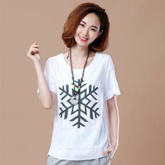 Loose Korean-style short-sleeved Print round neck cotton T-shirt (Snow paragraph white)