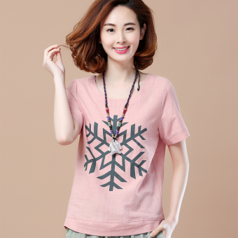 Loose Korean-style short-sleeved Print round neck cotton T-shirt (Snowflake models leather pink)