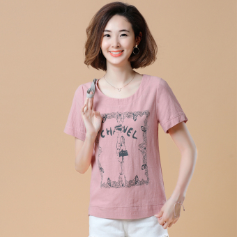 Loose Korean-style short-sleeved Print round neck cotton T-shirt (Villain models leather pink)
