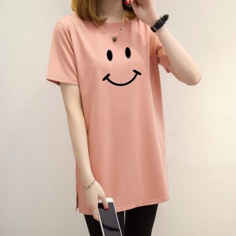 Loose Korean-style short-sleeved Print round neck t-shirt Women's Top (Champagne color)