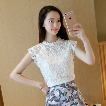 Loose Korean-style slimming Top sleeveless lace shirt (White) (White)