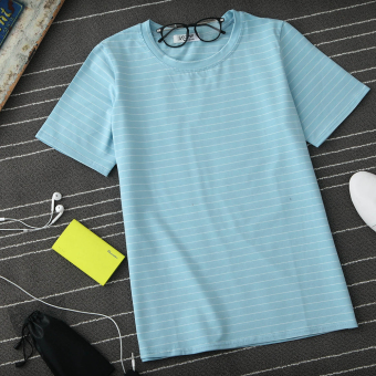 Loose Korean-style solid color cotton short-sleeved bottoming shirt striped T-shirt (Sky blue color version2)