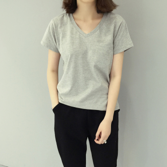 Loose Korean-style solid color female slimming base shirt Top (Gray) (Gray)