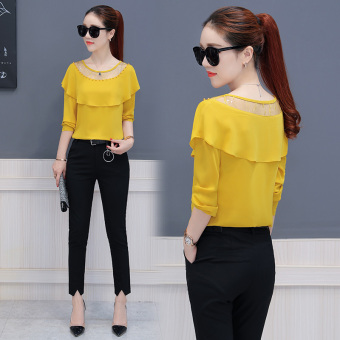 Loose Korean-style solid color long-sleeved autumn women's Top chiffon shirt (Yellow)