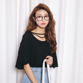 Loose Korean-style solid color Plus-sized slimming T-shirt base shirt (Black)