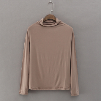 Loose Korean-style spring Plus-sized thin section T-shirt (Camel)