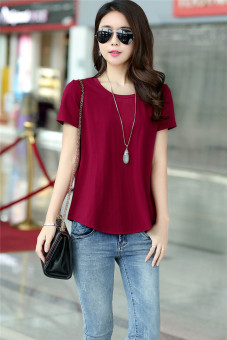 Loose Korean-style summer Plus-sized round neck solid color short sleeved t-shirt (Wine red color) (Wine red color)