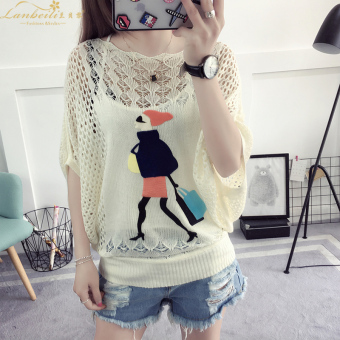 Loose Korean-style thin section hollow hedging sweater T-shirt (Beauty bag)