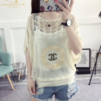 Loose Korean-style thin section hollow hedging sweater T-shirt (CC Pattern)