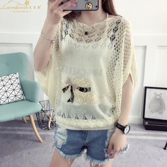 Loose Korean-style thin section hollow hedging sweater T-shirt (Hat)