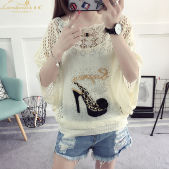 Loose Korean-style thin section hollow hedging sweater T-shirt (High-heeled shoes)