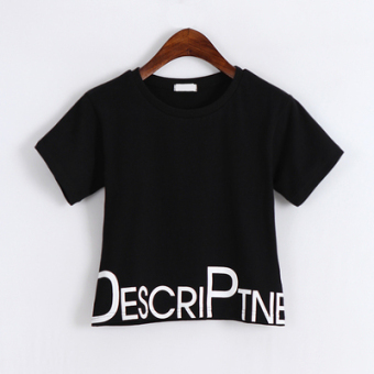 Loose Korean-style white female student high waisted Top short paragraph T-shirt (Black)