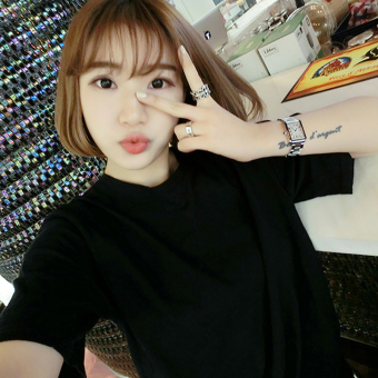 Loose Korean-style White Summer solid color short sleeved t-shirt (Black) (Black)