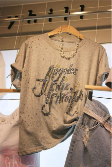 Loose Korean-style women's short sleeved lettered sequin Top T-shirt