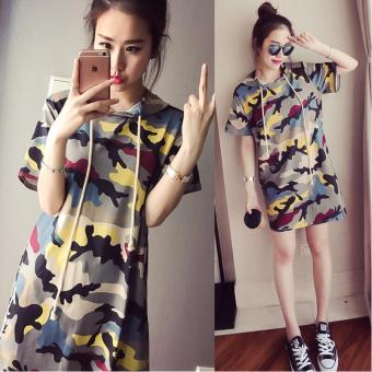 Loose Korean-style women's short sleeved summer mid-length T-shirt dress (Camouflage green) (Camouflage green)