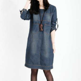 Loose Korean-style word mid-length long-sleeved dress faded denim dress (Cowboy blue (long sleeves)) (Cowboy blue (long sleeves))