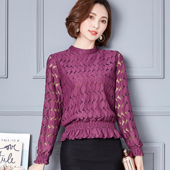 Loose lace bottoming shirt female New style small shirt (Purple)