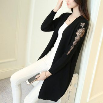 Loose lace female cardigan (Black) (Black)