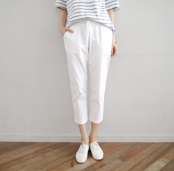 Loose linen female thin high-waisted pants cotton linen pant pants (White) (White)