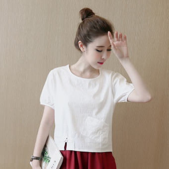 Loose Linen New style short-sleeved shirt T-shirt (Wine red color)