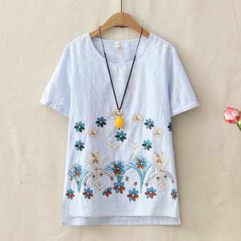 Loose literary Linen round neck short-sleeved small flower T-shirt (Sky Blue)
