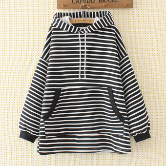 Loose mm2017 female Plus-sized New style hooded Top hoodie (White striped)