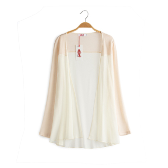 Loose New style long section of thin cardigan long-sleeved chiffon shirt (Beige)