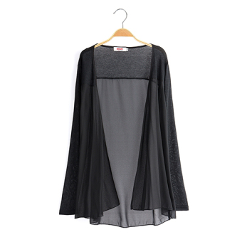Loose New style long section of thin cardigan long-sleeved chiffon shirt (Black)