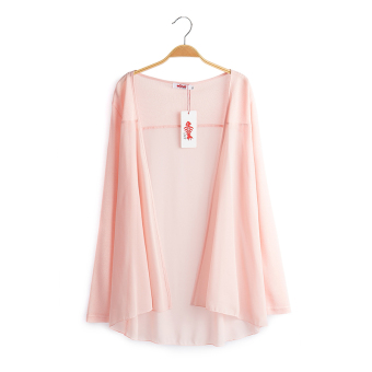 Loose New style long section of thin cardigan long-sleeved chiffon shirt (Meat pink)