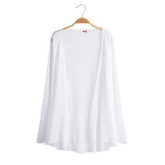Loose New style long section of thin cardigan long-sleeved chiffon shirt (White)