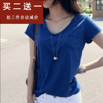 Loose New style short-sleeved women T-shirt (Blue)