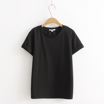 Loose popular plain this year solid color short-sleeved t-shirt (Black)