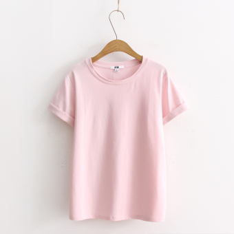 Loose popular plain this year solid color short-sleeved t-shirt (Pink color)