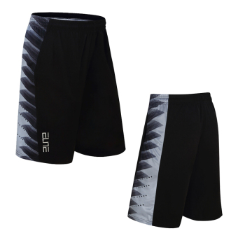 Loose quick-drying breathable knee shorts basketball shorts (14801 black and gray) (14801 black and gray)